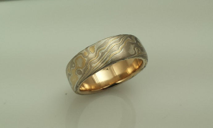 Artisan Crafted Wood Grain Wedding Band Etched Mokume Gane 14k Palladium White Gold 18y Yellow And Sterling