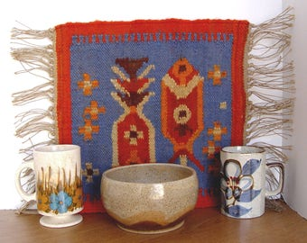 Vintage BOHO Table Mat / Table Runner Weaving Textile Tapestry & 2 Mugs / Cups and Pottery Bowl SET ~ Boho Chic Decor ~ Tea Time Serving!