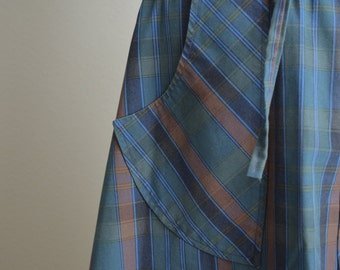 vintage 70s blue gray brown striped plaid wrap skirt -- womens small