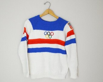Pre-Christmas SALE - Vintage 70s 80s Olympic Sweater Pullover // womens medium