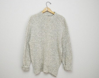 MLK - 20% off SALE - Vintage 80s Heather Oatmeal Tan Wool Sweater // mens medium// womens large