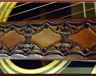 SCALLOP #1 GEOMETRIC Design • A Beautifully Hand Tooled, Hand Crafted Leather Guitar Strap