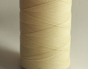 whole spool, 500m, cream macrame cord, ivory, waxed polyester cord, 0.8 mm. flat braid, jewelry making, friendship, macrame necklace,