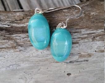 Light Blue Glass Fusion Earrings