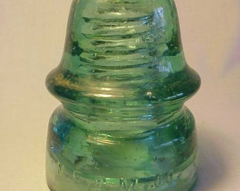c1890-1900 N. E. G. M. Co. , Aqua Glass Electric Telegraph Telephone Insulator No. 2