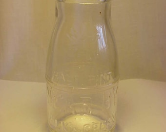 1932 United Dairy System Near By Milk and Cream ,Embossed Half Pint Milk Bottle , Great Wedding Decor No. 2