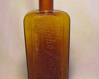 c1890s Cabots Sulpho Napthol Boston, Mass. , Amber Cork Top Medicine Bottle