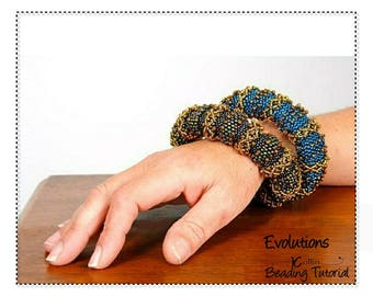 Beading Pattern Thick Tubular Peyote Big Ethnic Bangle beadweaving Instructions DIY Beaded Jewelry Tutorial PDF Download EVOLUTIONS