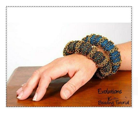 Beading Pattern Thick Tubular Peyote Big Ethnic Bangle beadweaving Instructions DIY Beaded Jewelry Tutorial PDF Download EVOLUTIONS
