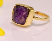 HOLIDAY SALE - Purple Amethyst Ring - February Birthstone Ring - Solitaire Ring - Stacking Ring - Gold Plated - Cushion Cut Ring