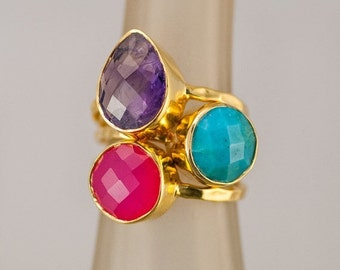 SALE - Birthstone Ring Set Gold - Mother's Ring Set - Stacking Ring Set - Stackable Ring Set - Gemstone Ring-  Bezel Rings - Gold Rings