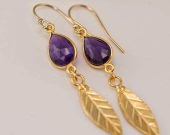 40 OFF - Purple Amethyst earrings - Gold Leaf Earrings - Birthstone Earrings - Gemstone earrings - Gold drop earrings - Dangle Earrings