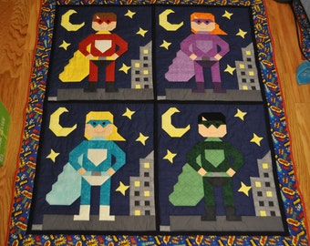 Super Hero Quilt Pattern - PDF format