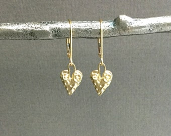 Gold vermeil heart earrings, tiny strawberry, lever back, minimalist, everyday jewelry E157