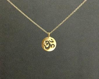 Gold vermeil om necklace, aum symbol, ohm, namaste, everyday spiritual yoga minimalist jewelry N161