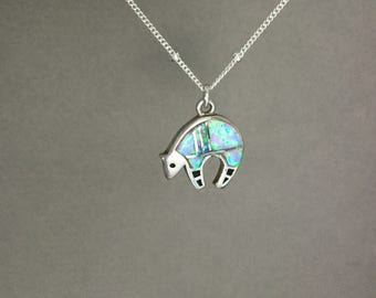 Zuni bear fetish necklace, sterling silver opal, southwestern style, native american, satellite station chain, turquoise and purple N287