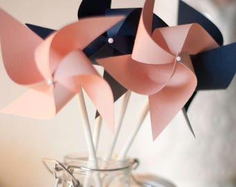 Coral Wedding favor Coral and Navy, Coral and Navy shower, Coral Navy wedding, coral, navy -12 Mini Pinwheels (Custom orders welcomed)