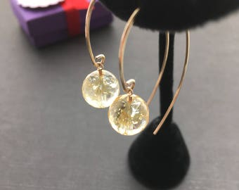 Gold Citrine Earrings, Citrine Jewelry, Yellow Earrings, Modern Jewelry, Bridesmaid Earrings, Gold Wire Earrings, Anniversary Gift