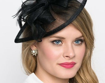"""Black Fascinator - """"Penny"""" Mesh Hat Fascinator with Mesh Ribbons and Black Feathers"""