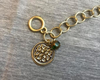 Gold Link Charm Bracelet with Two Recycled Tin Charms