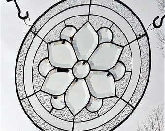 Round stained glass beveled flower cluster window panel clear glass suncatcher