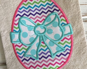 Easter Egg With Bow Applique Embroidery Design 4x4 5x7 6x10