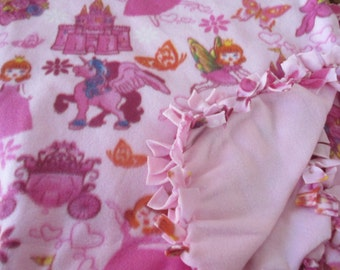 Pink Fleece Pricesses Unicorn Tied Blanket
