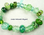 Lampwork Glass Bead Set of Mixed Multicolored Green Beads- set of 22
