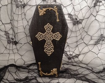 Victorian Antique Brass Filigree Cross Coffin Box