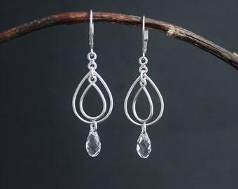 White Crystal Dangle Earrings in Sterling Silver, Clear Swarovski Crystal Element Briolette, Dangle Briolette, Ready to Ship Earrings