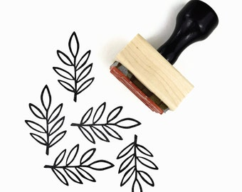 Olive Branch Rubber Stamp - Hand Drawn Geometric Leaf Stamp by Creatiate