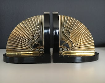 Vintage Set or TWO Brass Fan Bookends - Beautiful Brass on Laqured Black Wood - Hollywood Regency with Oriental Flair