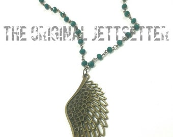 Feather Necklace - Green Necklace - Antiqued Brass Necklace
