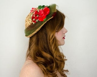 1950s vintage hat / natural straw toque with roses and velvet / Bensam