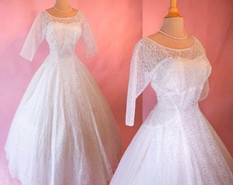 """Larger Size Bust 41"""" 1950's Chiffon Wedding Gown of Lace with Ruched Panels  Ballgown White Wedding Dress Gorgeous Size 10/12"""