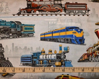 Train fabric railroad fabric rail yard cotton fabric for Train themed fabric