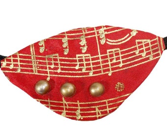 Red Eye Patch Orchestra  Fashion Cosplay Gothic Steampunk Pirate Gold Music Note