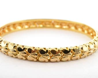 Solid 22K Yellow Gold 7mm Wide Bangle Bracelet