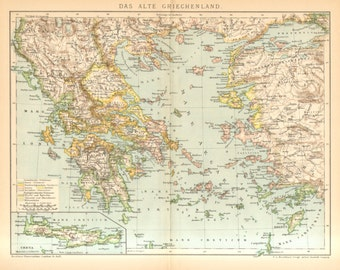 1894 Original Antique Map of the Ancient Greece and Crete with the Invading Tribes