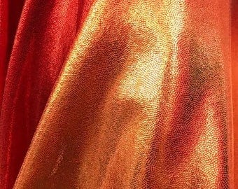 4- Way Stretch Mystique Metallic Ombre Spandex Fabric - Blood Orange and Copper