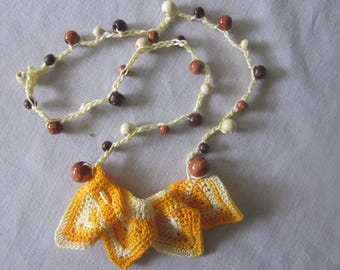 Unique Crocheted Boho Scallop Point Statement Necklace with Wooden Beads, OOAK, Orange, Brown, Yellow, Cream