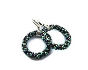 Beaded hoop earrings- multicolored beaded hoop earrings -beadwoven earrings in green- handcrafted earrings- beadwork