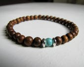 Woman's Wood Bracelet Wood Stretch Bracelet Turquoise Bracelet Wood Stone Bracelet Turquoise Boho Bracelet Natural Eco Friendly Jewelry