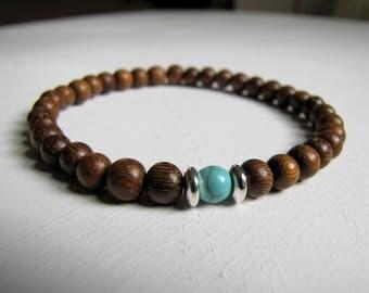 Woman's Wood Bracelet Wood Stretch Bracelet Turquoise Bracelet Wood Stone Bracelet Turquoise Boho Bracelet Natural Eco Friendly Jewelry