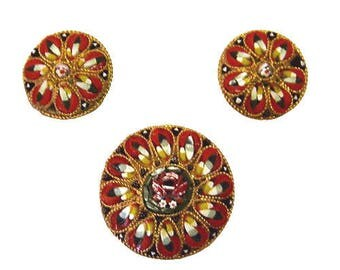 Vintage Italian Micro Mosaic Brooch and Earring Set