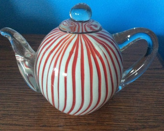 Red White and Clear Tea Pot Glass Paperweight stunning, tea pot paperweight, glass paperweight