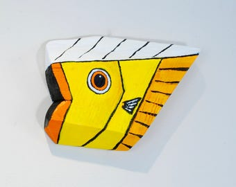 Yellow Fish Art Handmade in Vermont from Reclaimed Wood
