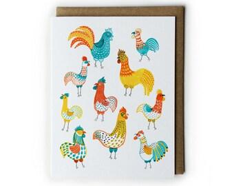 Blank Greeting Cards, Cute Animal Illustration, Watercolor Greeting Card, Watercolor Chicken Painting, Folded Notecard, A2, 4.25x5.5