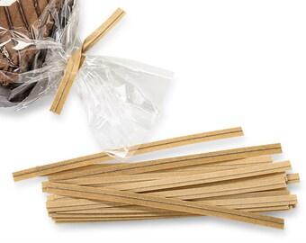 50 Kraft Paper Twist Ties, Rustic Wedding, Favors,