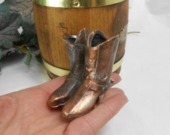 Vintage Bronze Miniature Cowboy Boots Wild West Decor Figurine or Paperweight cowboy up western decor southwestern decor